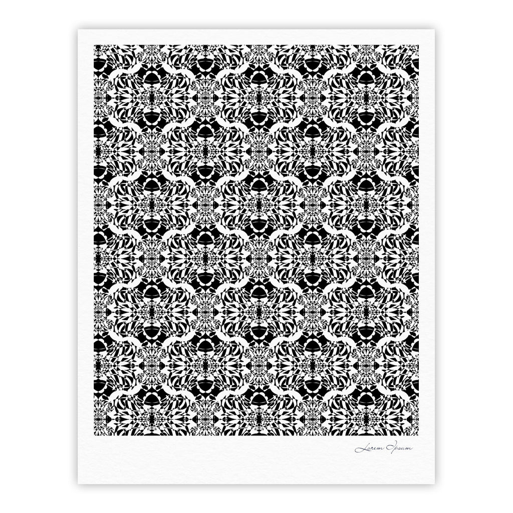 "Mydeas ""Illusion Damask Black & White"" Monochrome Fine Art Gallery Print - KESS InHouse"