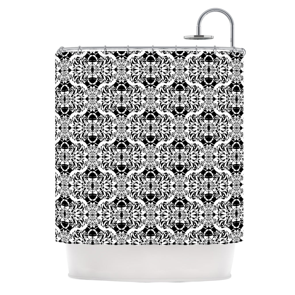 "Mydeas ""Illusion Damask Black & White"" Monochrome Shower Curtain - KESS InHouse"