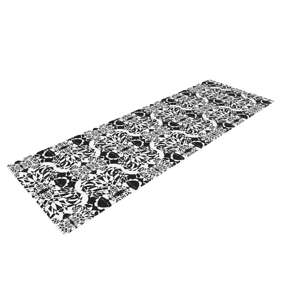 "Mydeas ""Illusion Damask Black & White"" Monochrome Yoga Mat - KESS InHouse  - 1"