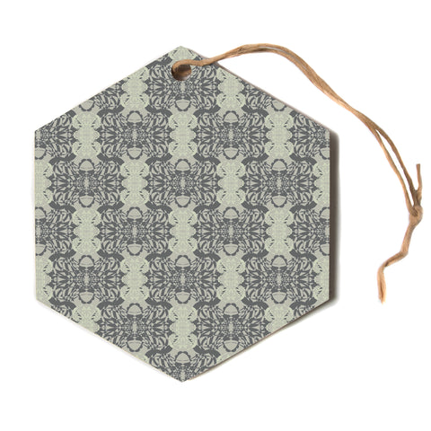 "Mydeas ""Illusion Damask Silver"" Gray Hexagon Holiday Ornament"