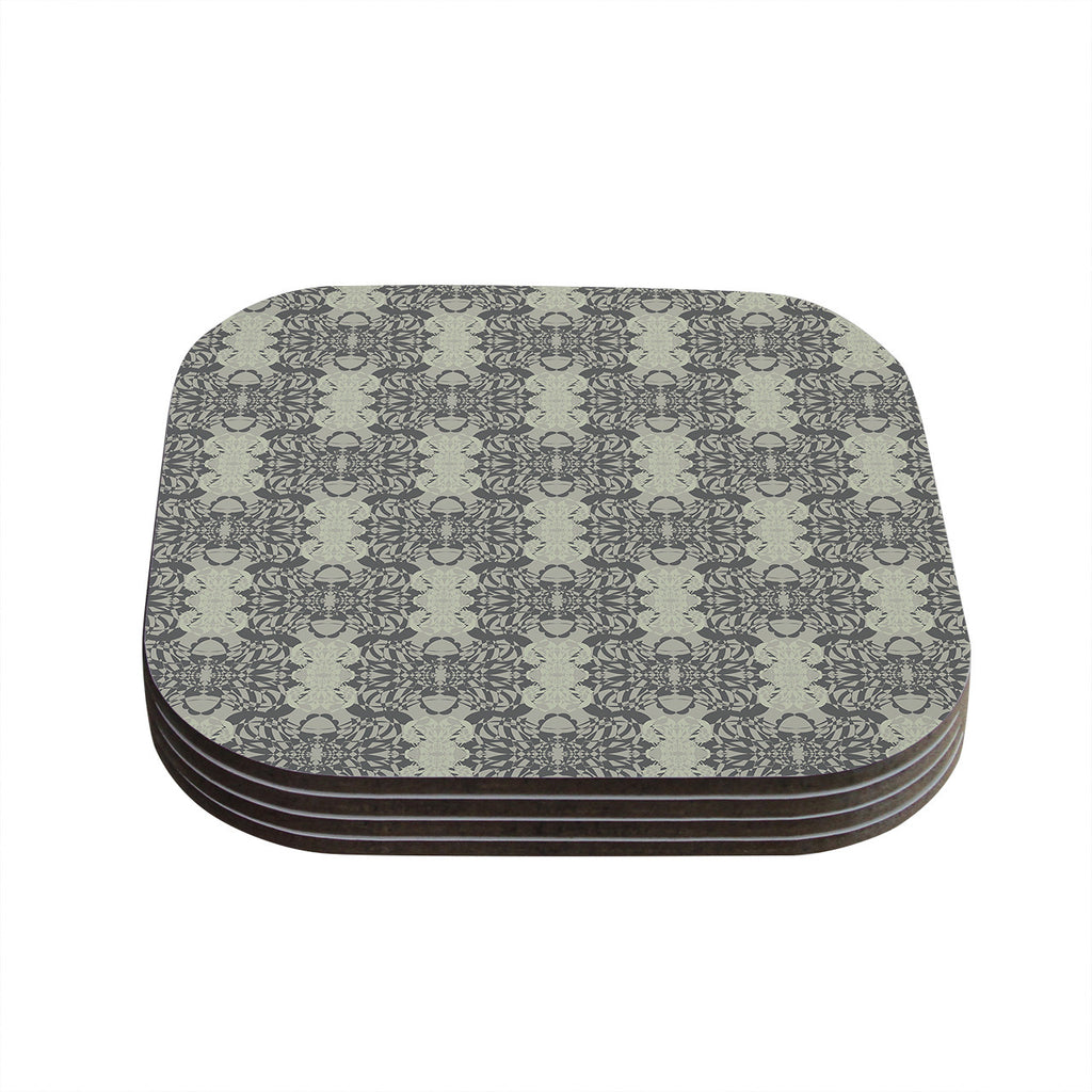 "Mydeas ""Illusion Damask Silver"" Gray Coasters (Set of 4)"