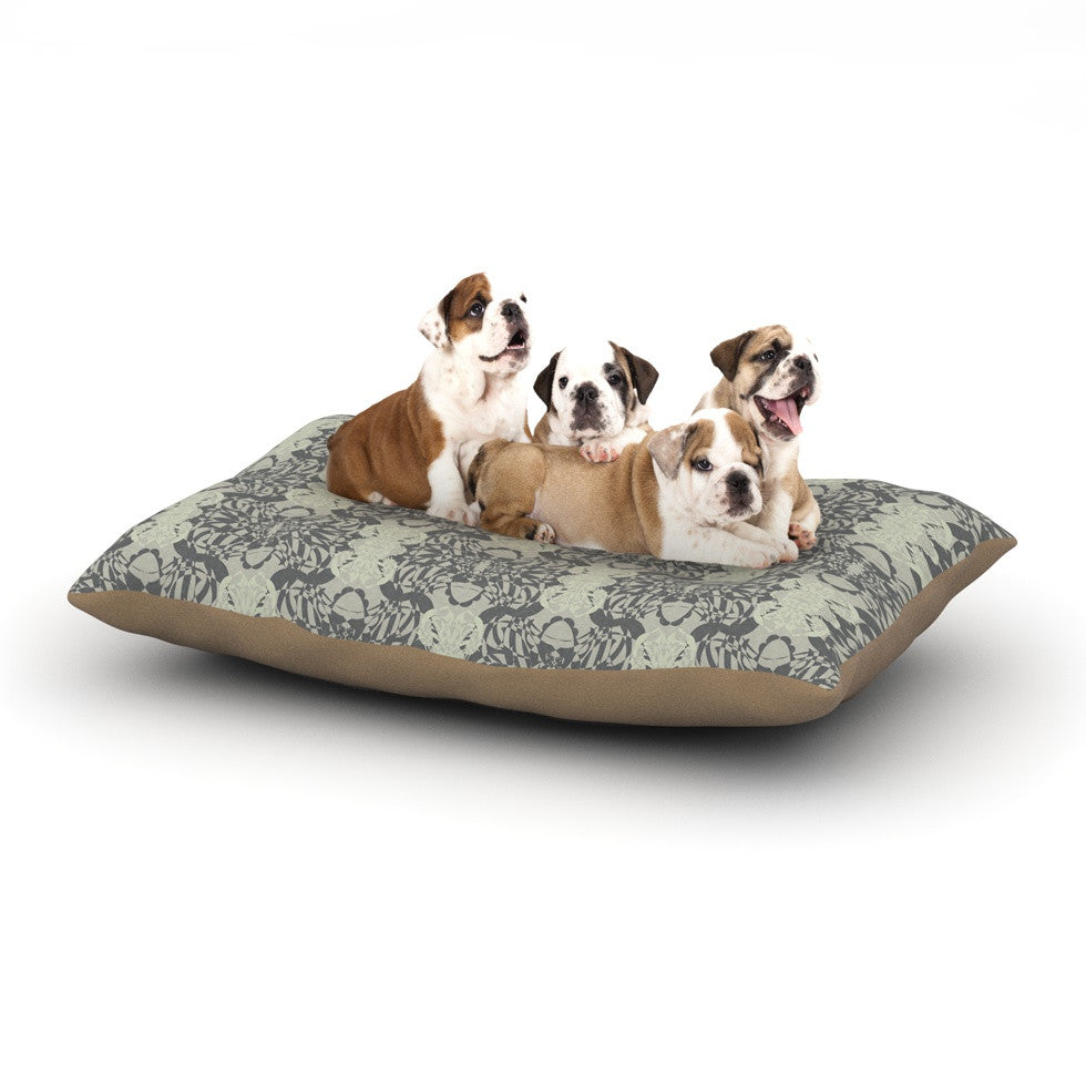 "Mydeas ""Illusion Damask Silver"" Gray Dog Bed - KESS InHouse  - 1"