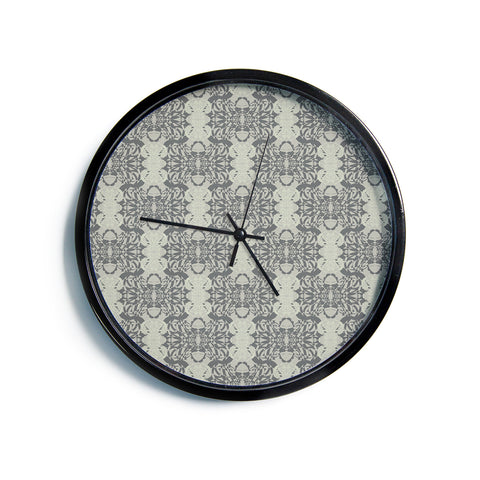 "Mydeas ""Illusion Damask Silver"" Gray Modern Wall Clock"