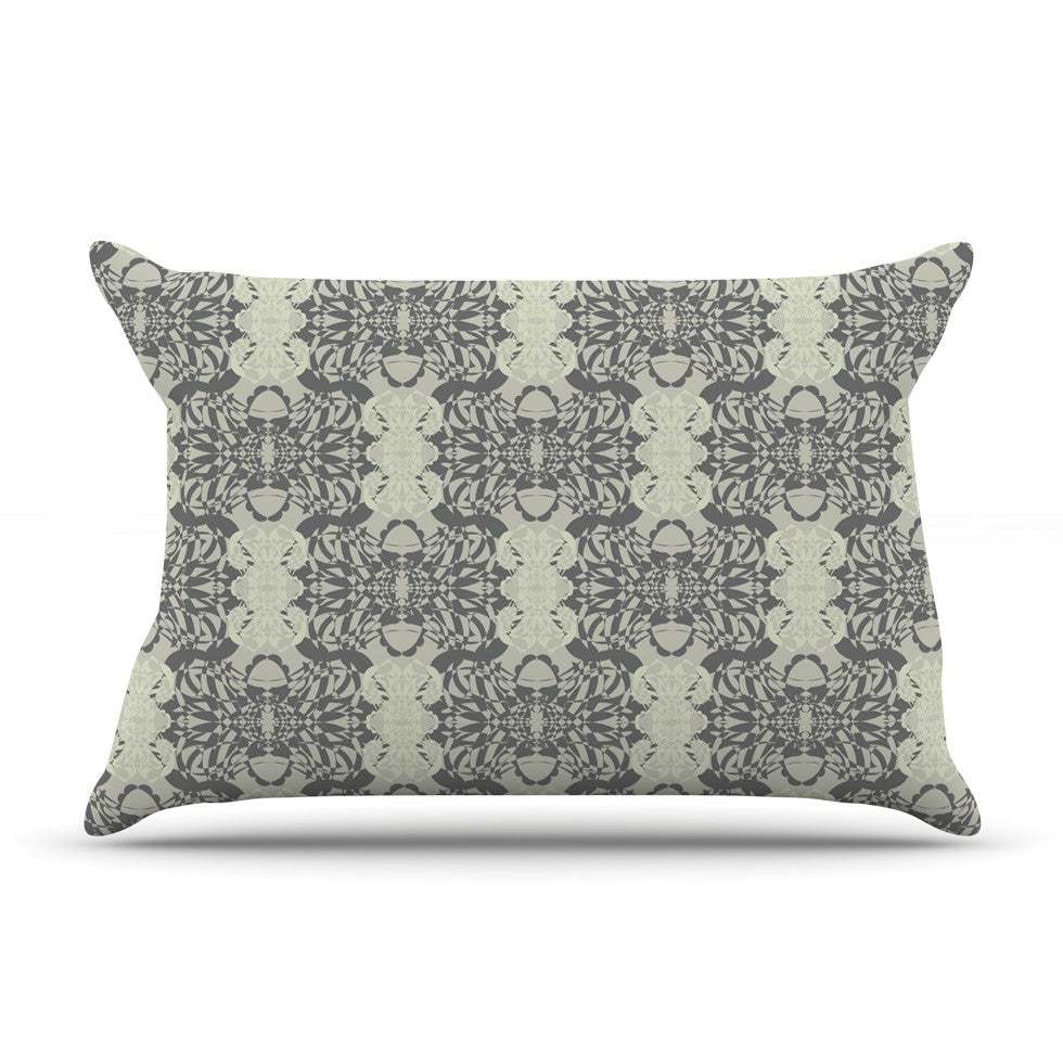 "Mydeas ""Illusion Damask Silver"" Gray Pillow Sham - KESS InHouse"
