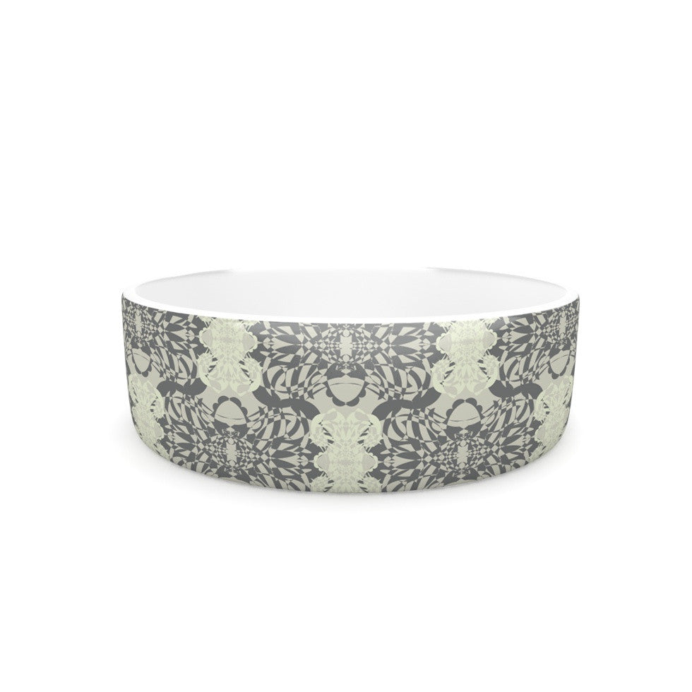 "Mydeas ""Illusion Damask Silver"" Gray Pet Bowl - KESS InHouse"
