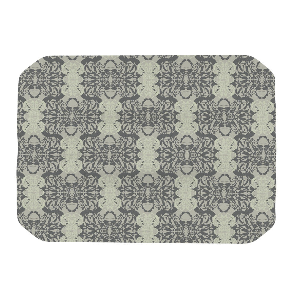"Mydeas ""Illusion Damask Silver"" Gray Place Mat - KESS InHouse"