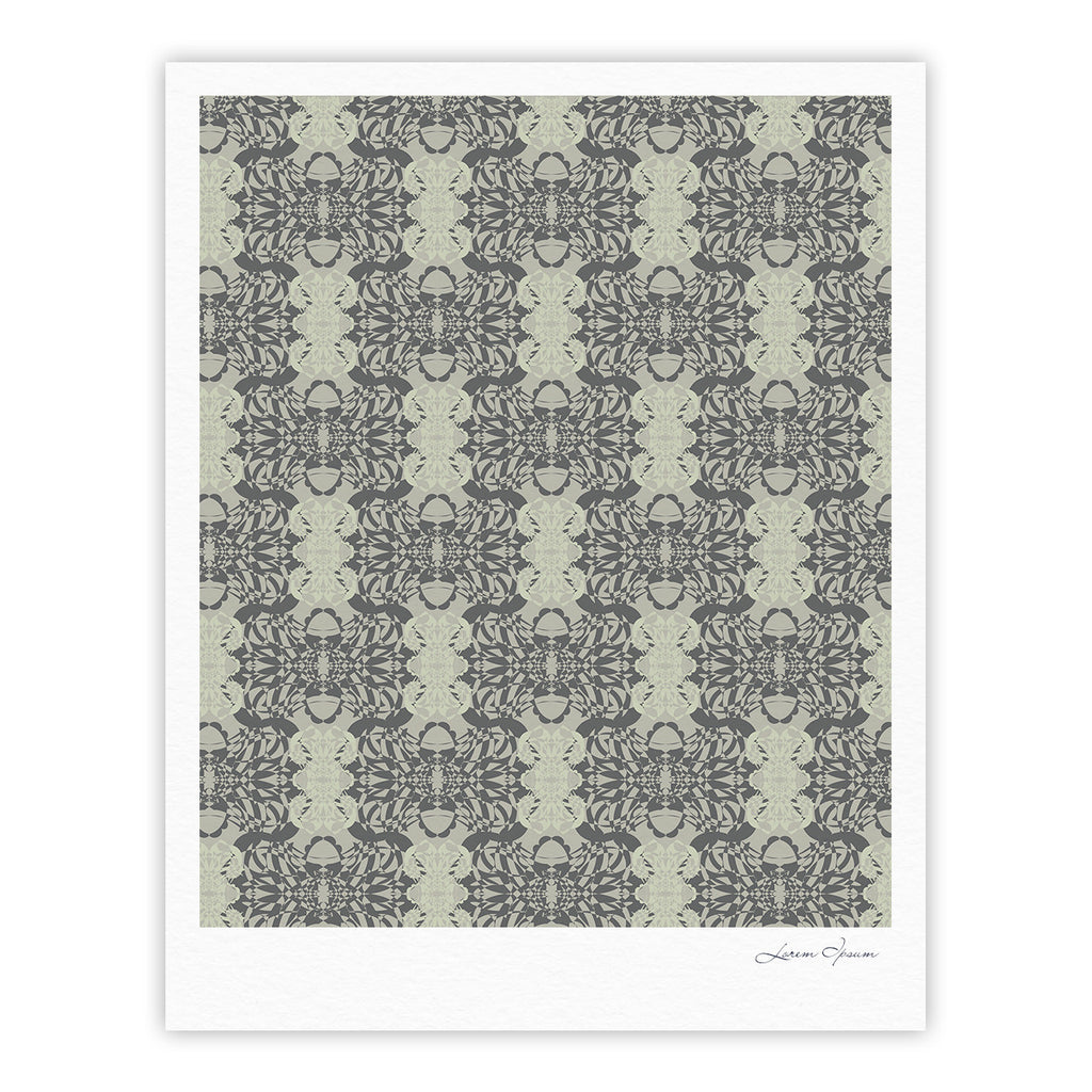 "Mydeas ""Illusion Damask Silver"" Gray Fine Art Gallery Print - KESS InHouse"