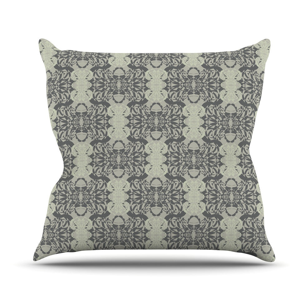 "Mydeas ""Illusion Damask Silver"" Gray Throw Pillow - KESS InHouse  - 1"