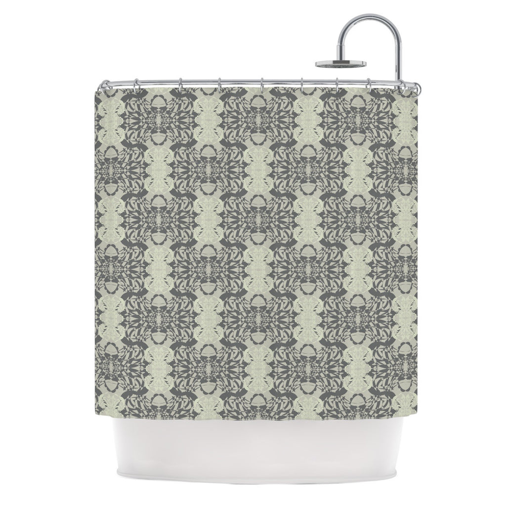 "Mydeas ""Illusion Damask Silver"" Gray Shower Curtain - KESS InHouse"