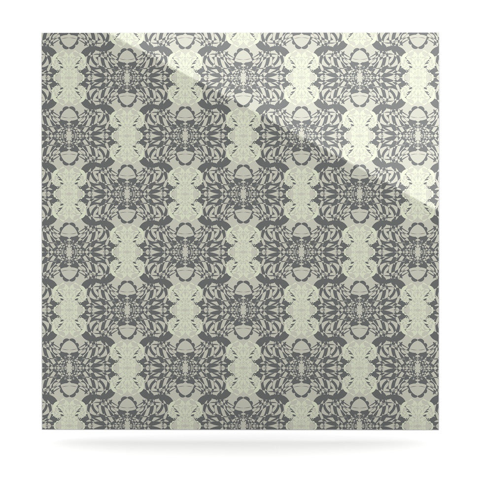 "Mydeas ""Illusion Damask Silver"" Gray Luxe Square Panel - KESS InHouse  - 1"