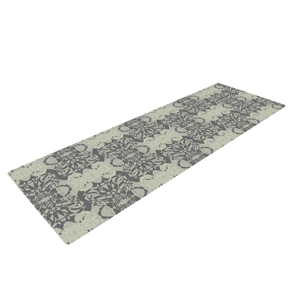 "Mydeas ""Illusion Damask Silver"" Gray Yoga Mat - KESS InHouse  - 1"