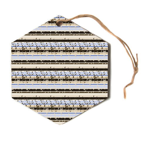 "Mydeas ""Nautical Breeze Sandy"" Tan Blue Hexagon Holiday Ornament"
