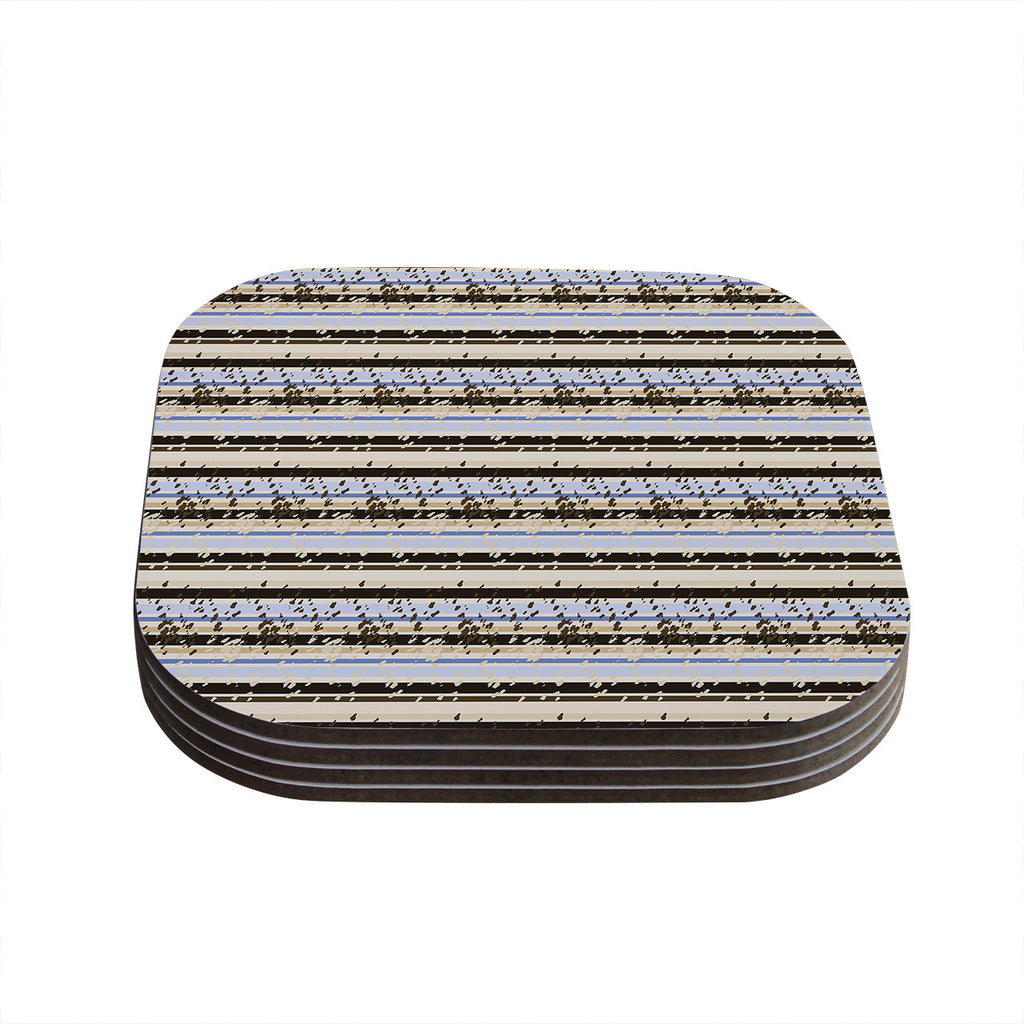 "Mydeas ""Nautical Breeze - Sandy Stripes"" Tan Blue Coasters (Set of 4)"