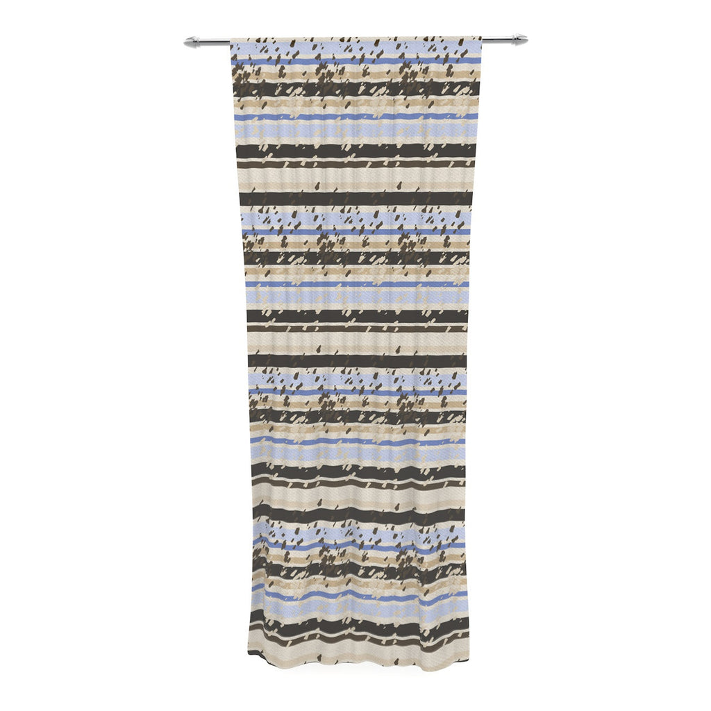 "Mydeas ""Nautical Breeze - Sandy Stripes"" Tan Blue Decorative Sheer Curtain - KESS InHouse  - 1"