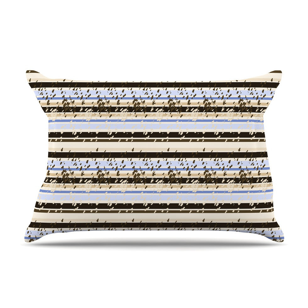 "Mydeas ""Nautical Breeze - Sandy Stripes"" Tan Blue Pillow Sham - KESS InHouse"