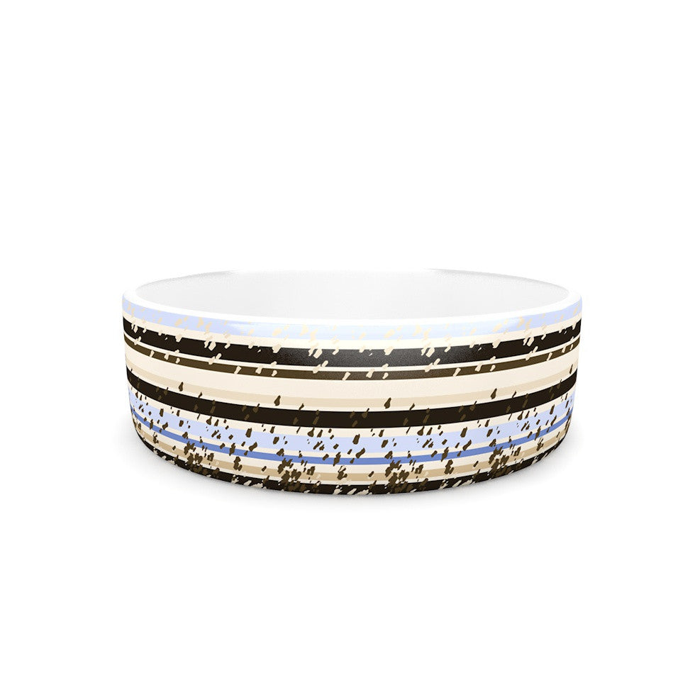 "Mydeas ""Nautical Breeze - Sandy Stripes"" Tan Blue Pet Bowl - KESS InHouse"