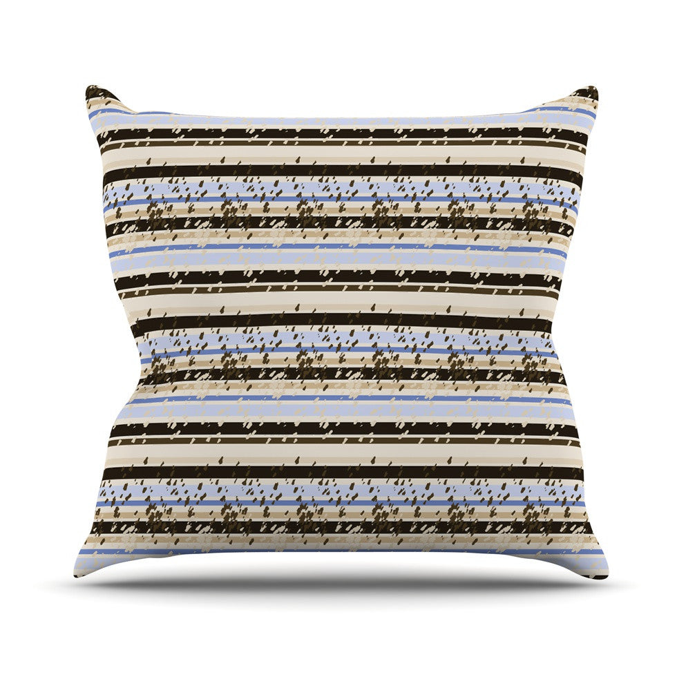 "Mydeas ""Nautical Breeze - Sandy Stripes"" Tan Blue Throw Pillow - KESS InHouse  - 1"