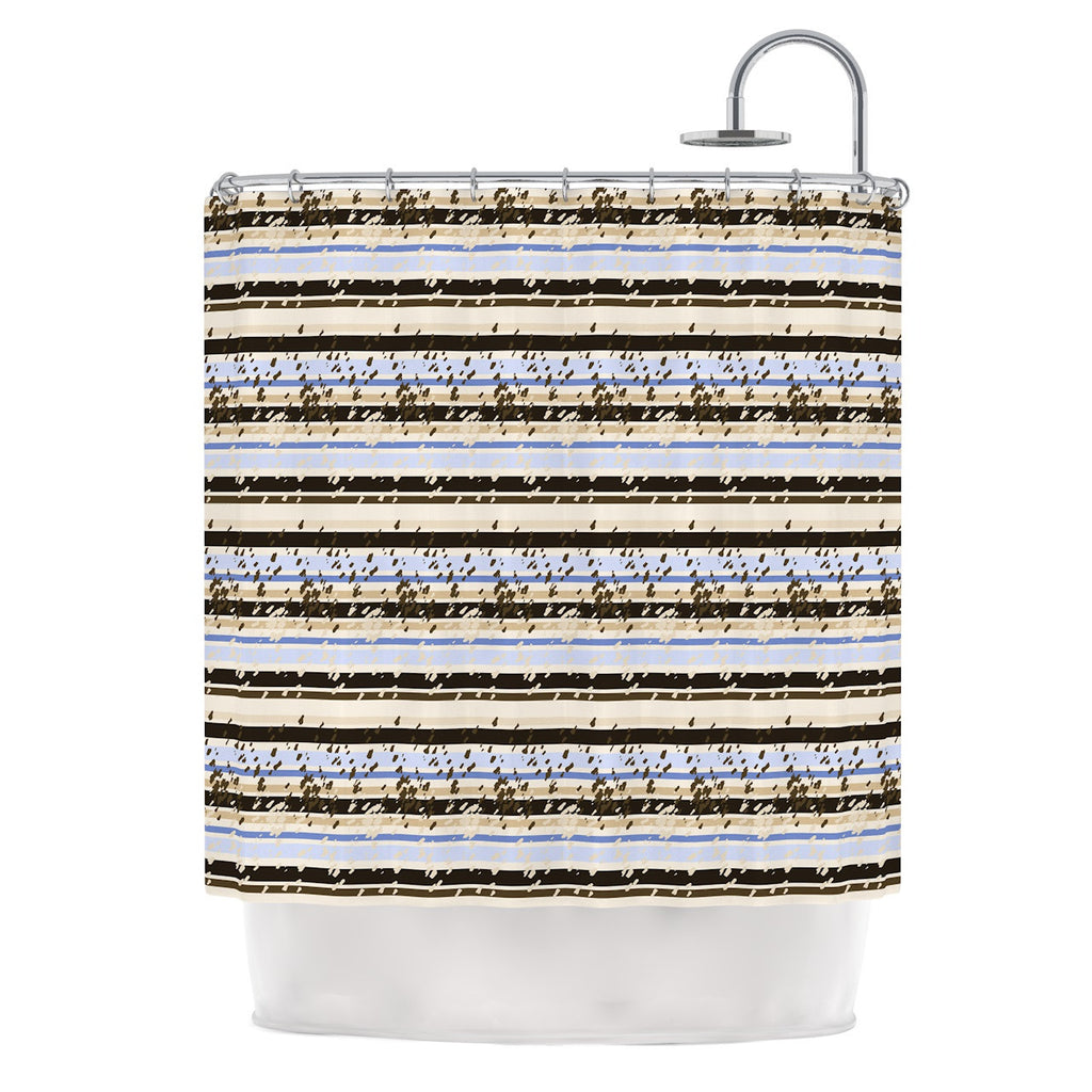 "Mydeas ""Nautical Breeze - Sandy Stripes"" Tan Blue Shower Curtain - KESS InHouse"