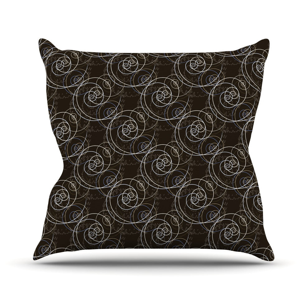 "Mydeas ""Nautical Breeze - Spiral Swirls"" Brown Pattern Outdoor Throw Pillow - KESS InHouse  - 1"