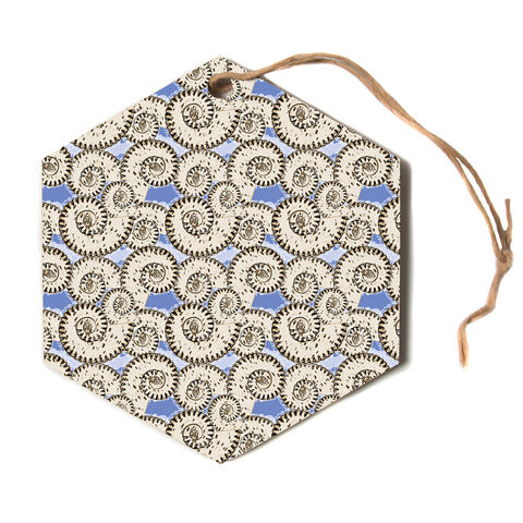 "Mydeas ""Nautical Breeze - Spiral Seashell"" Beige Blue Vector Coastal Nautical Hexagon Holiday Ornament"