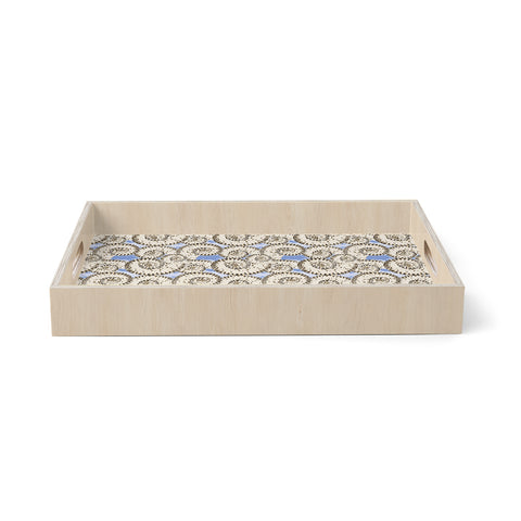 "Mydeas ""Nautical Breeze - Spiral Seashell"" Beige Blue Vector Coastal Nautical Birchwood Tray"