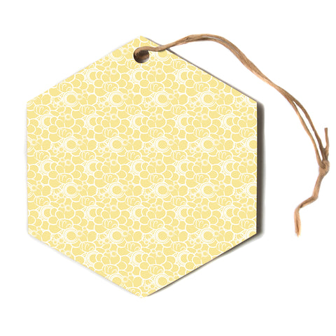 "Mydeas ""Sunny Spots Pattern"" Yellow White Vector Polkadot Nature Hexagon Holiday Ornament"