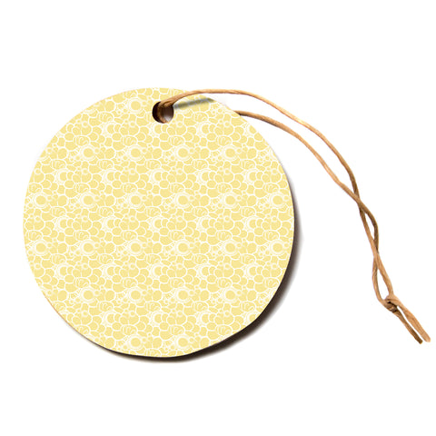 "Mydeas ""Sunny Spots Pattern"" Yellow White Vector Polkadot Nature Circle Holiday Ornament"