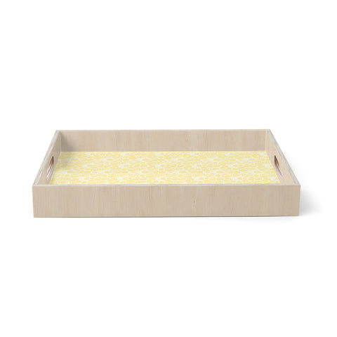 "Mydeas ""Sunny Spots Pattern"" Yellow White Vector Polkadot Nature Birchwood Tray"