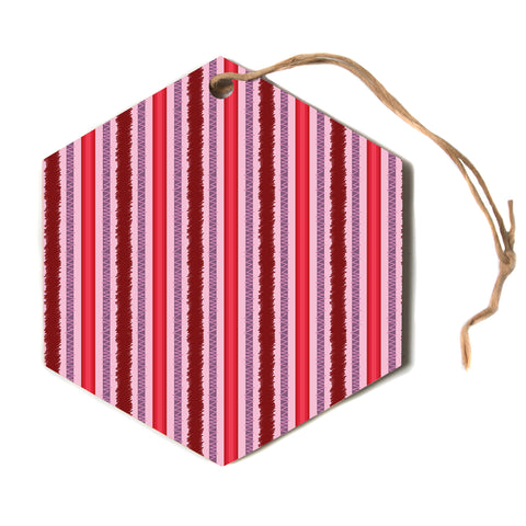 "Mydeas ""Scribbled Candy Stripes"" Blue White Vector Polkadot Nature Hexagon Holiday Ornament"