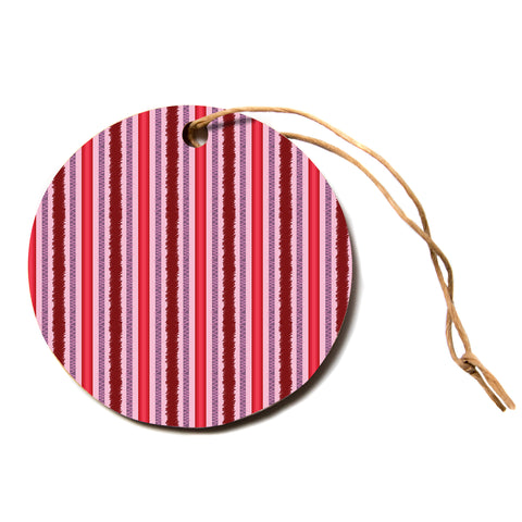 "Mydeas ""Scribbled Candy Stripes"" Blue White Vector Polkadot Nature Circle Holiday Ornament"