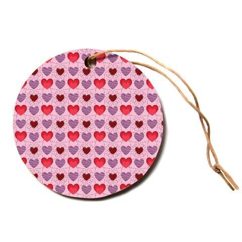 "Mydeas ""Fancy Scribbled Hearts Pattern"" Pink Red Vector Stripes Kids Circle Holiday Ornament"
