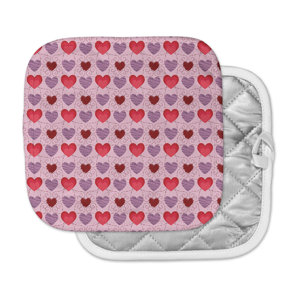 "Mydeas ""Fancy Scribbled Hearts Pattern"" Pink Red Vector Pot Holder"