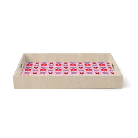"Mydeas ""Fancy Scribbled Hearts Pattern"" Pink Red Vector Stripes Kids Birchwood Tray"
