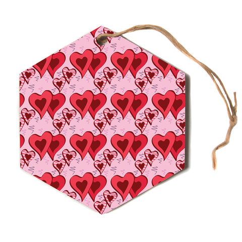 "Mydeas ""Scribbled Hearts Pattern"" Pink Red Vector Love Kids Hexagon Holiday Ornament"