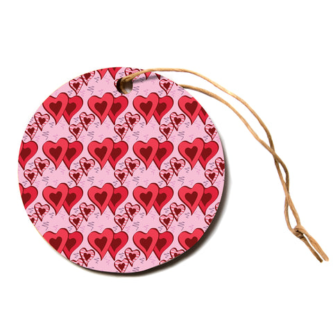 "Mydeas ""Scribbled Hearts Pattern"" Pink Red Vector Love Kids Circle Holiday Ornament"