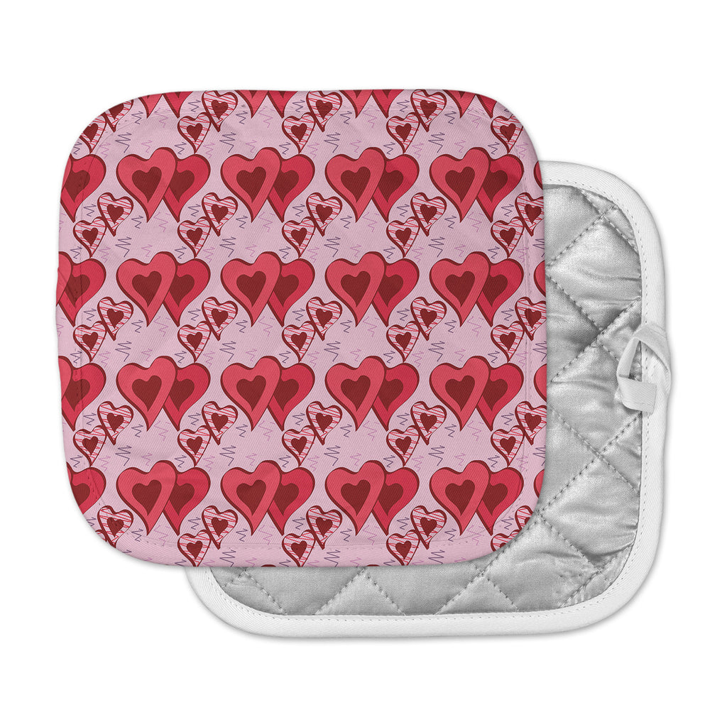 "Mydeas ""Scribbled Hearts Pattern"" Pink Red Vector Pot Holder"