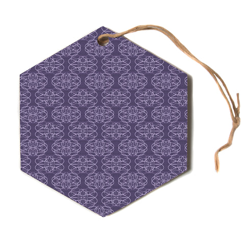 "Mydeas ""Purple Scroll Damask"" Pink Red Vector Love Kids Hexagon Holiday Ornament"