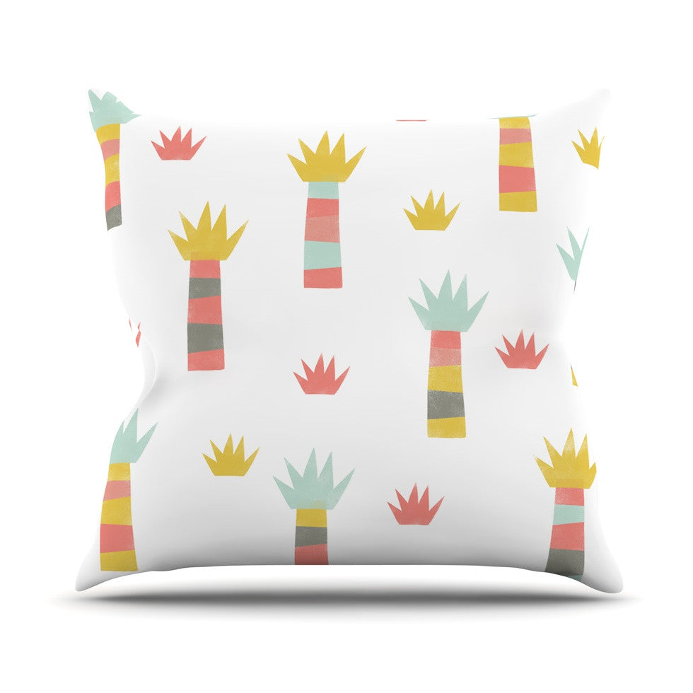 "Alik Arzoumanian ""Tropical"" White Pastel Outdoor Throw Pillow - KESS InHouse  - 1"