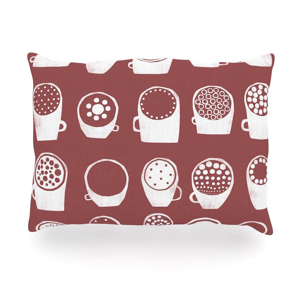 "Alik Arzoumanian ""Coffee Ring"" Maroon White Oblong Pillow - KESS InHouse"