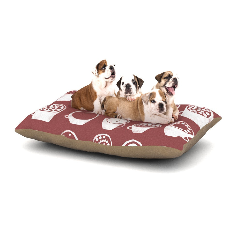 "Alik Arzoumanian ""Coffee Ring"" Maroon White Dog Bed - KESS InHouse  - 1"