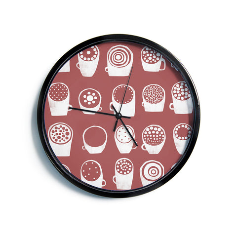 "Alik Arzoumanian ""Coffee Ring"" Maroon White Modern Wall Clock"