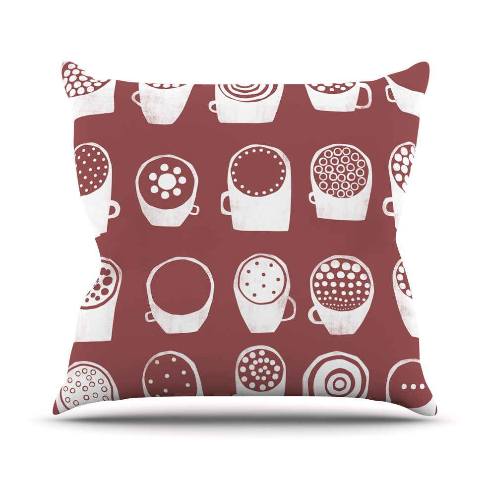 "Alik Arzoumanian ""Coffee Ring"" Maroon White Outdoor Throw Pillow - KESS InHouse  - 1"