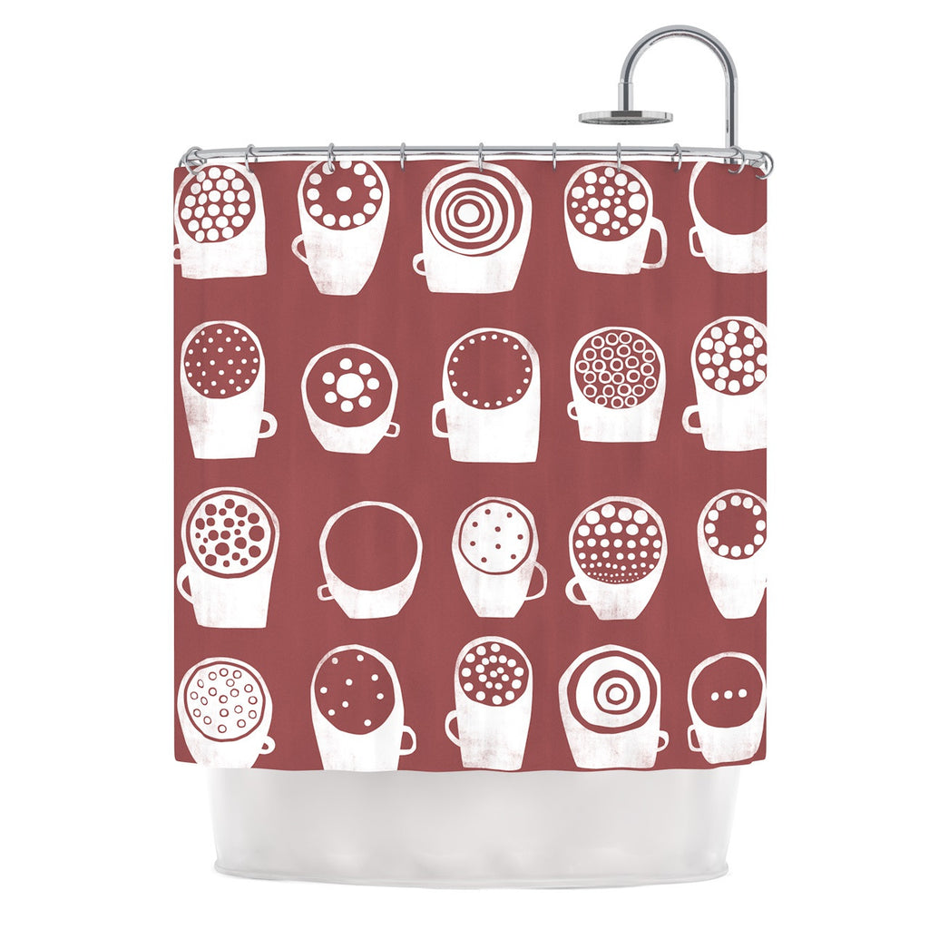 "Alik Arzoumanian ""Coffee Ring"" Maroon White Shower Curtain - KESS InHouse"