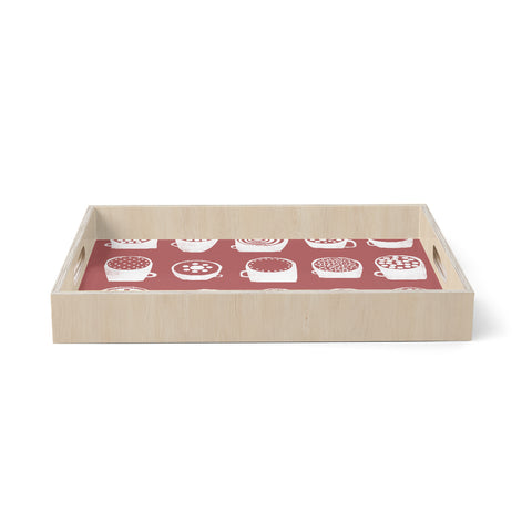 "Alik Arzoumanian ""Coffee Ring"" Maroon White Birchwood Tray"