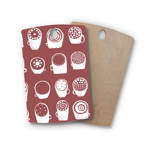 "Alik Arzoumanian ""Coffee Ring"" Maroon White Rectangle Wooden Cutting Board"