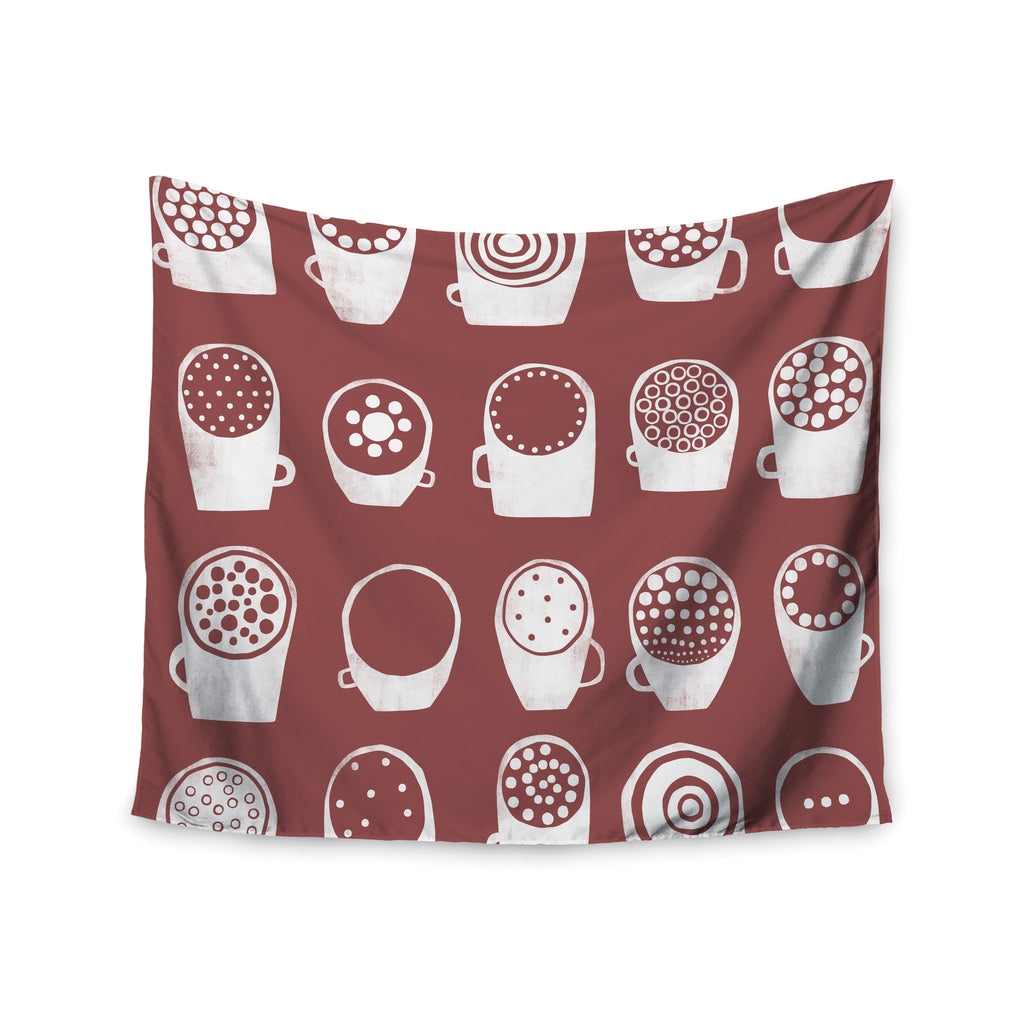 "Alik Arzoumanian ""Coffee Ring"" Maroon White Wall Tapestry - KESS InHouse  - 1"