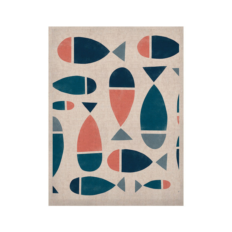 "Alik Arzoumanian ""Fish"" White Blue KESS Naturals Canvas (Frame not Included) - KESS InHouse  - 1"