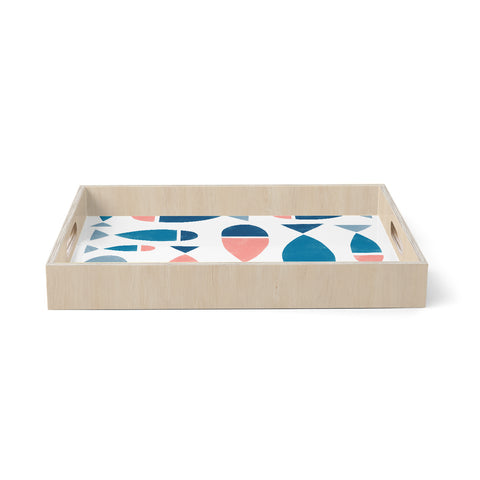 "Alik Arzoumanian ""Fish"" White Blue Birchwood Tray"