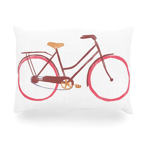 "Alik Arzoumanian ""Bike"" White Pink Oblong Pillow - KESS InHouse"