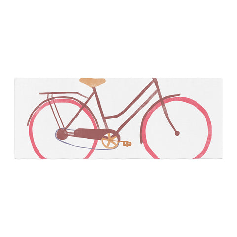 "Alik Arzoumanian ""Bike"" White Pink Bed Runner - KESS InHouse"